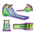 9029A bounceland double water slide with pool side front back top view