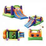 9063 obstacle pro-racer combo bounce house slide side top back front view
