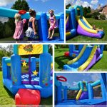 pop star bounce house with slide features