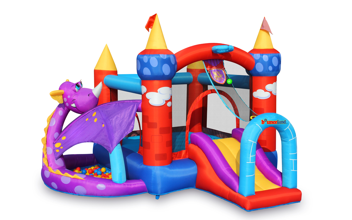 Dragon inflatable castle bounce house with ball pit image 1