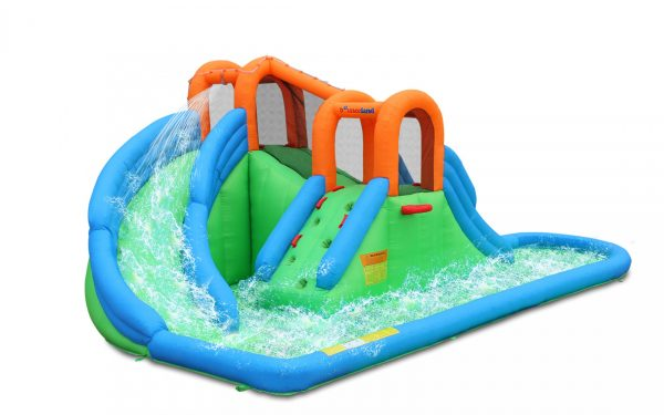 Bounceland New Island Splash Water Park with Pool and Dual Slides Tunnel