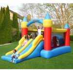 9474 castle obstacle bounce house with slide kids play