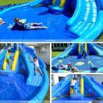 shark tank water slide features dual slides climbing wall water guns pool