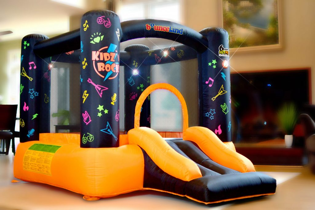 kidz rock bounce house with lights and sound interaction